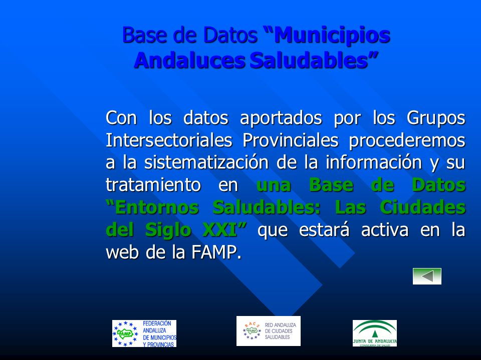 Base de Datos Municipios Andaluces Saludables