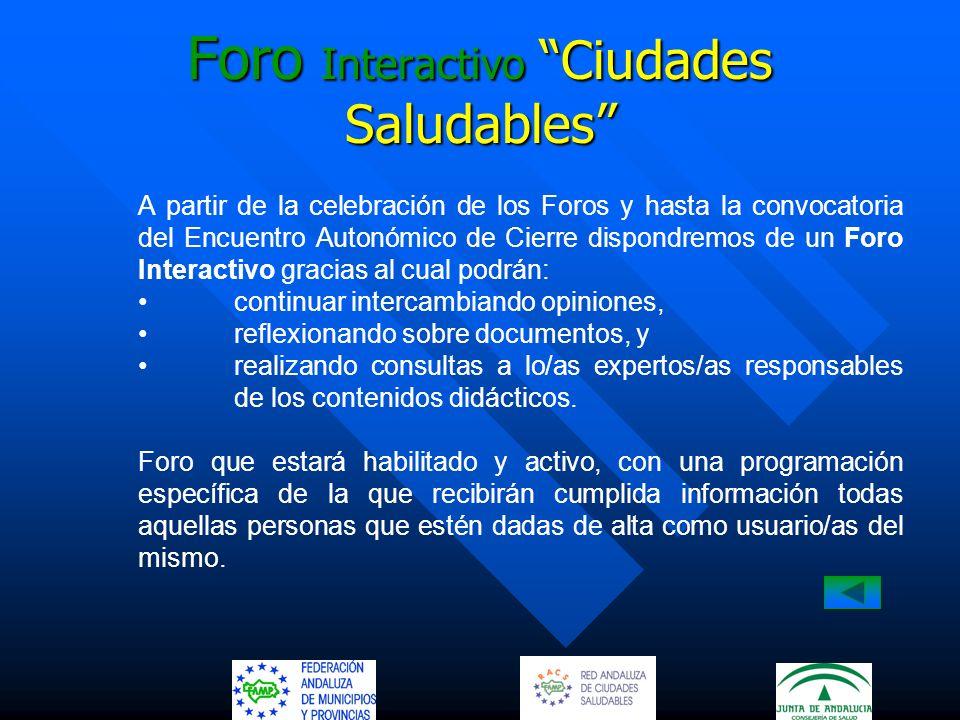 Foro Interactivo Ciudades Saludables