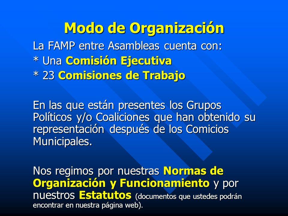 Modo de Organización La FAMP entre Asambleas cuenta con: