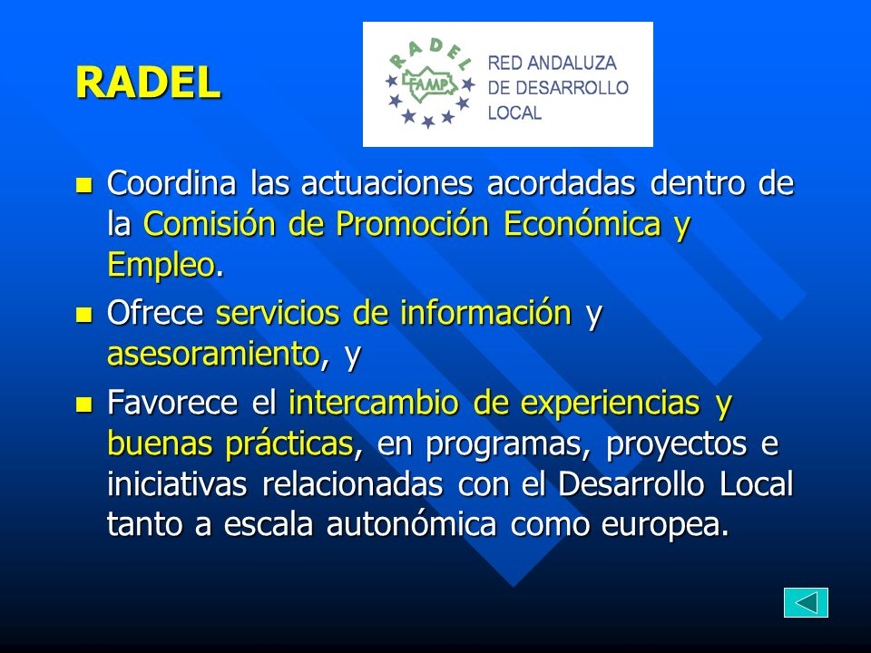 RADELCoordina las actuaciones acordadas dentro de la Comisión de Promoción Económica y Empleo. Ofrece servicios de información y asesoramiento, y.