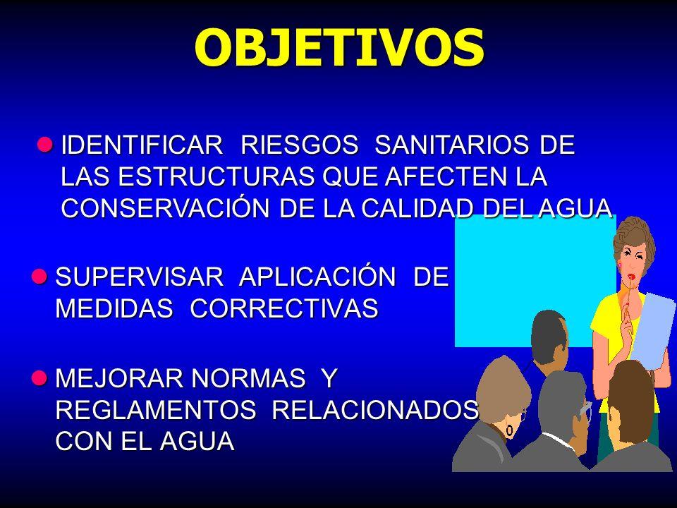 OBJETIVOS IDENTIFICAR RIESGOS SANITARIOS DE LAS ESTRUCTURAS QUE AFECTEN LA CONSERVACIÓN DE LA CALIDAD DEL AGUA.