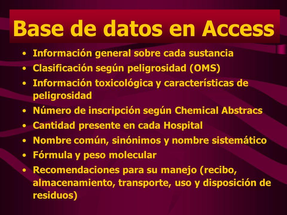 Base de datos en Access Información general sobre cada sustancia