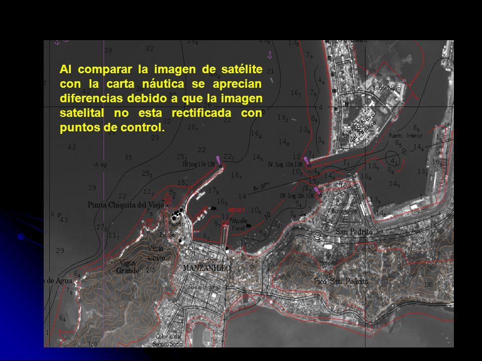 Al comparar la imagen de satélite con la carta náutica se aprecian diferencias debido a que la imagen satelital no esta rectificada con puntos de control.