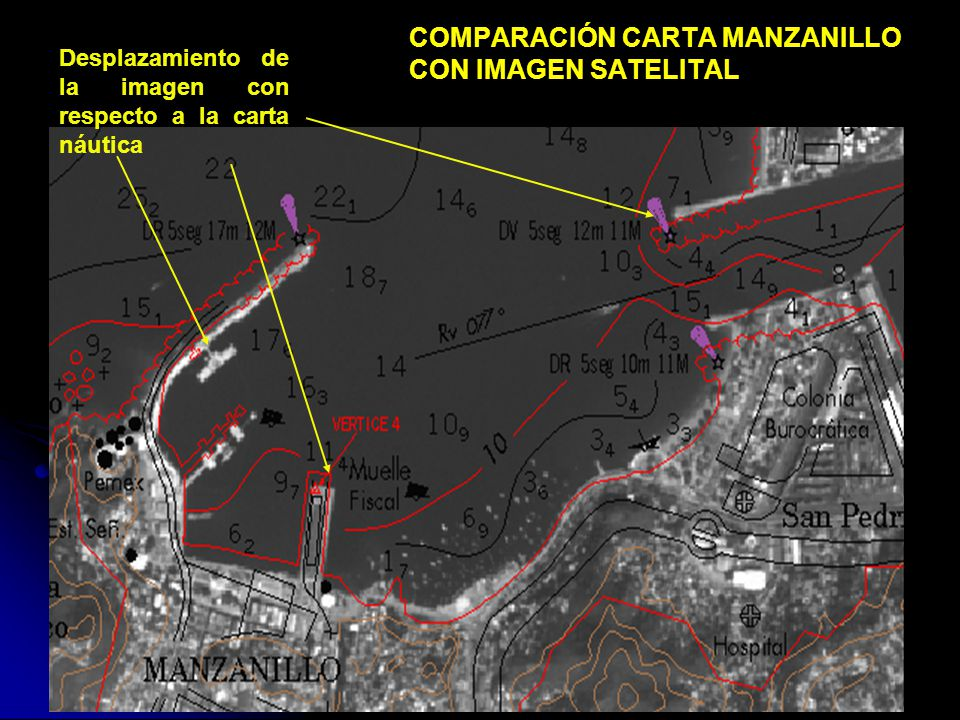 COMPARACIÓN CARTA MANZANILLO CON IMAGEN SATELITAL