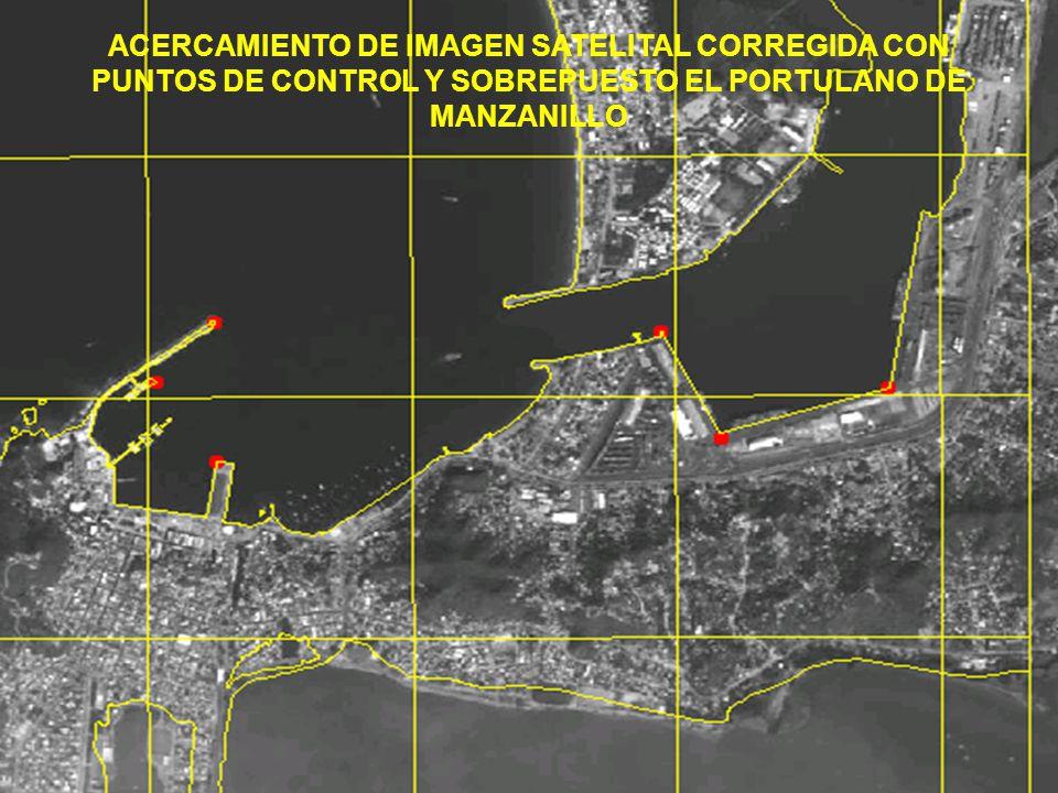 ACERCAMIENTO DE IMAGEN SATELITAL CORREGIDA CON PUNTOS DE CONTROL Y SOBREPUESTO EL PORTULANO DE MANZANILLO