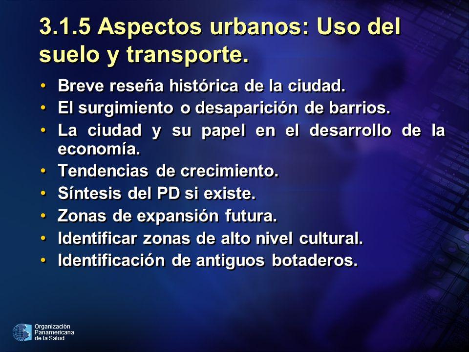 3.1.5 Aspectos urbanos: Uso del suelo y transporte.
