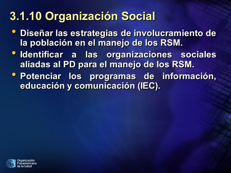 3.1.10 Organización SocialDiseñar las estrategias de involucramiento de la población en el manejo de los RSM.