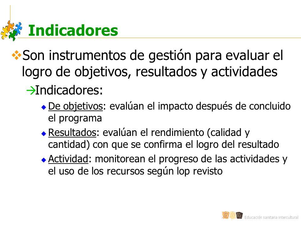 Indicadores Son instrumentos de gestión para evaluar el logro de objetivos, resultados y actividades.