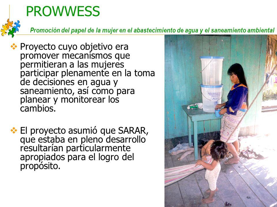 PROWWESS Promoción del papel de la mujer en el abastecimiento de agua y el saneamiento ambiental