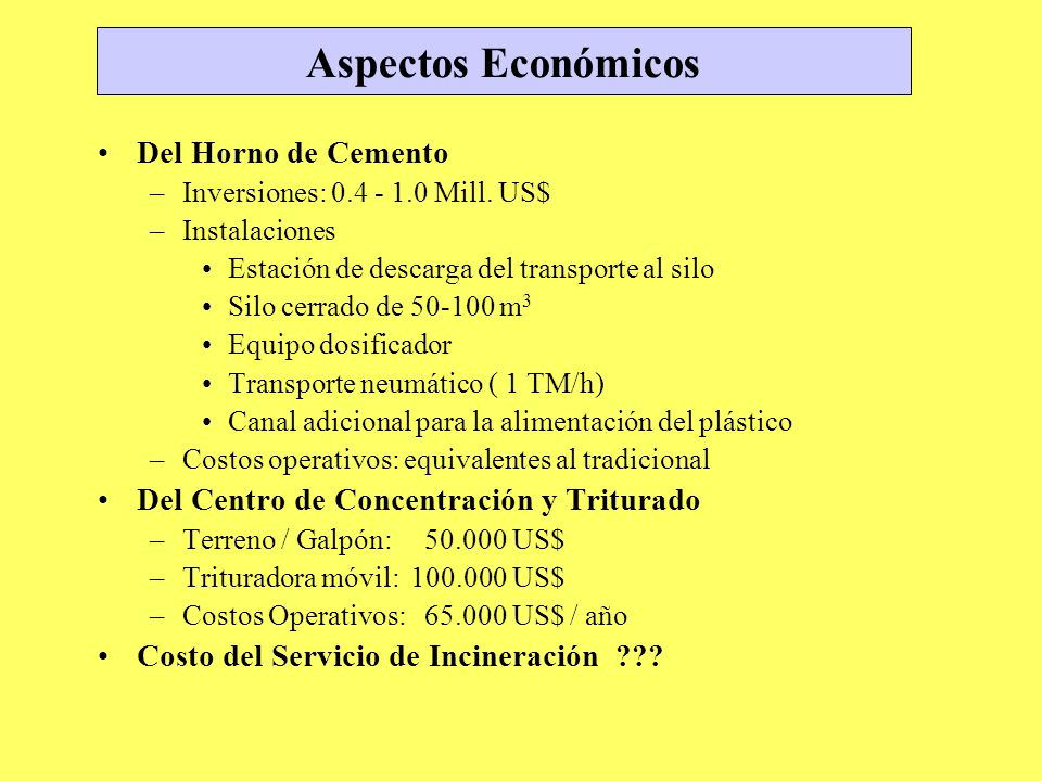 Aspectos Económicos Del Horno de Cemento