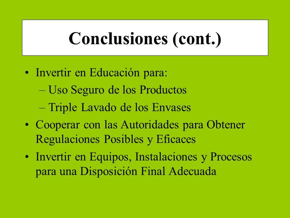 Conclusiones (cont.) Invertir en Educación para: