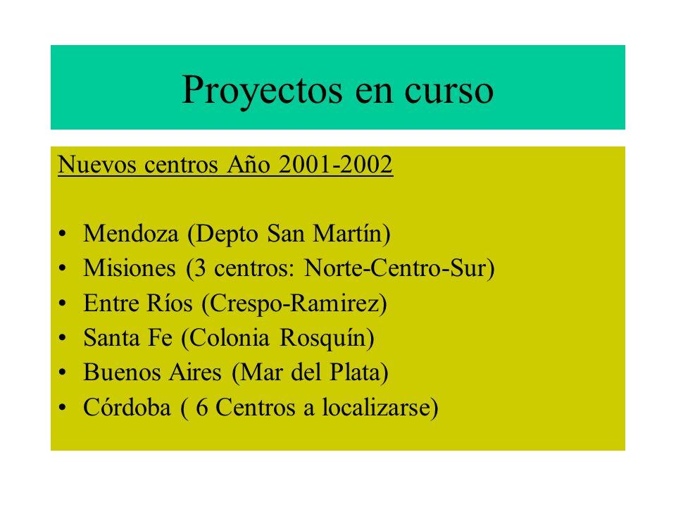 Proyectos en curso Nuevos centros Año 2001-2002
