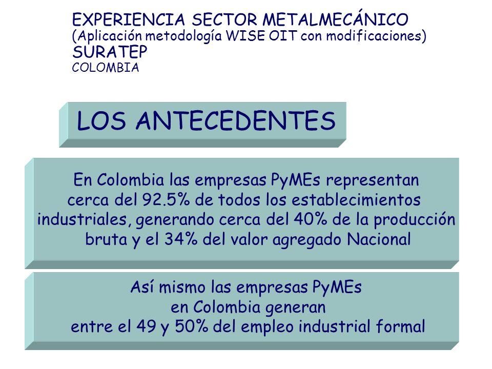LOS ANTECEDENTES EXPERIENCIA SECTOR METALMECÁNICO SURATEP