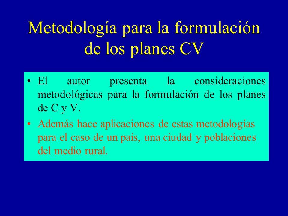 Metodología para la formulación de los planes CV
