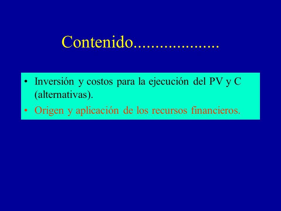 Contenido.................... Inversión y costos para la ejecución del PV y C (alternativas).