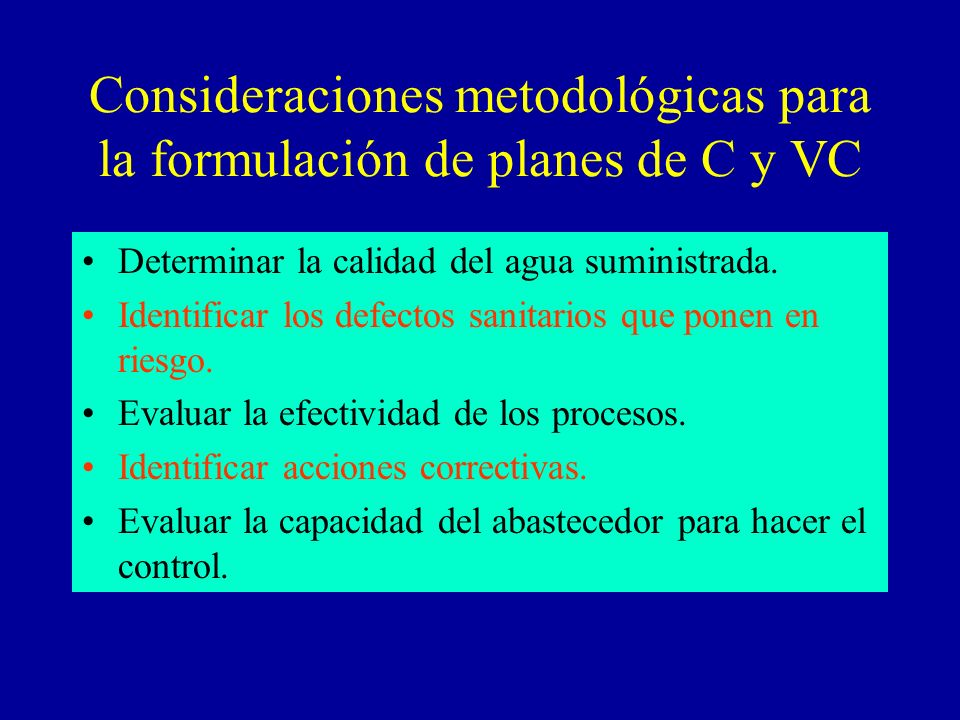 Consideraciones metodológicas para la formulación de planes de C y VC