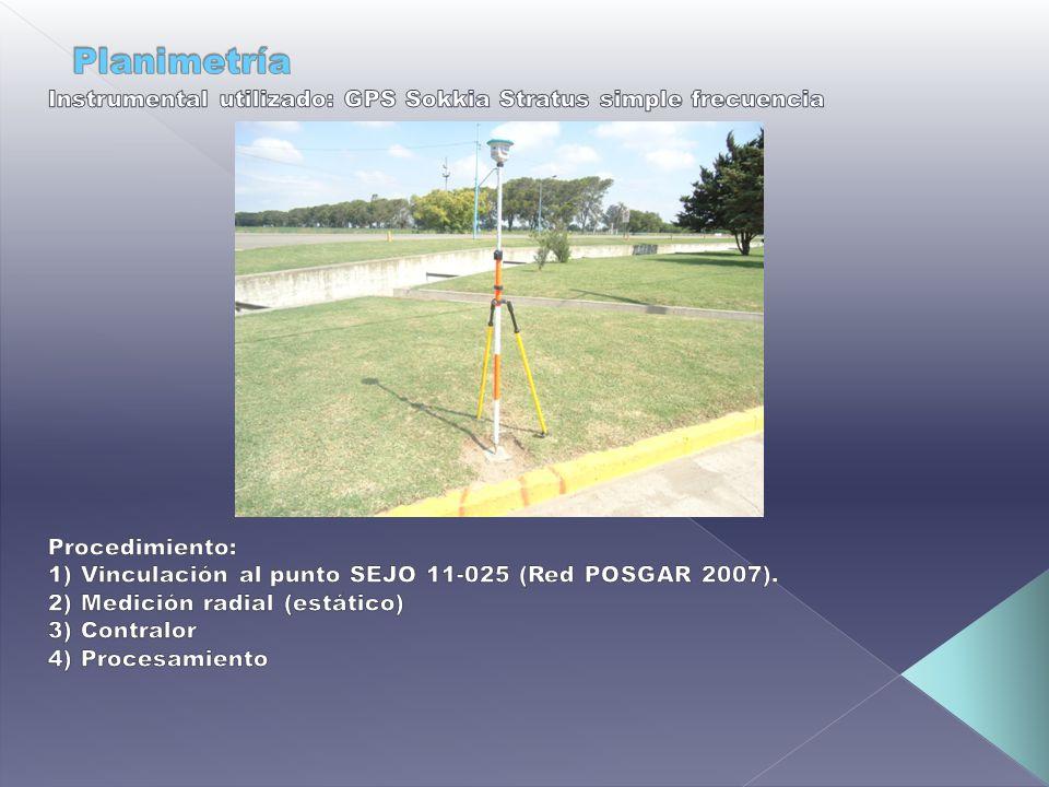 Planimetría Instrumental utilizado: GPS Sokkia Stratus simple frecuencia. Procedimiento: 1) Vinculación al punto SEJO 11-025 (Red POSGAR 2007).