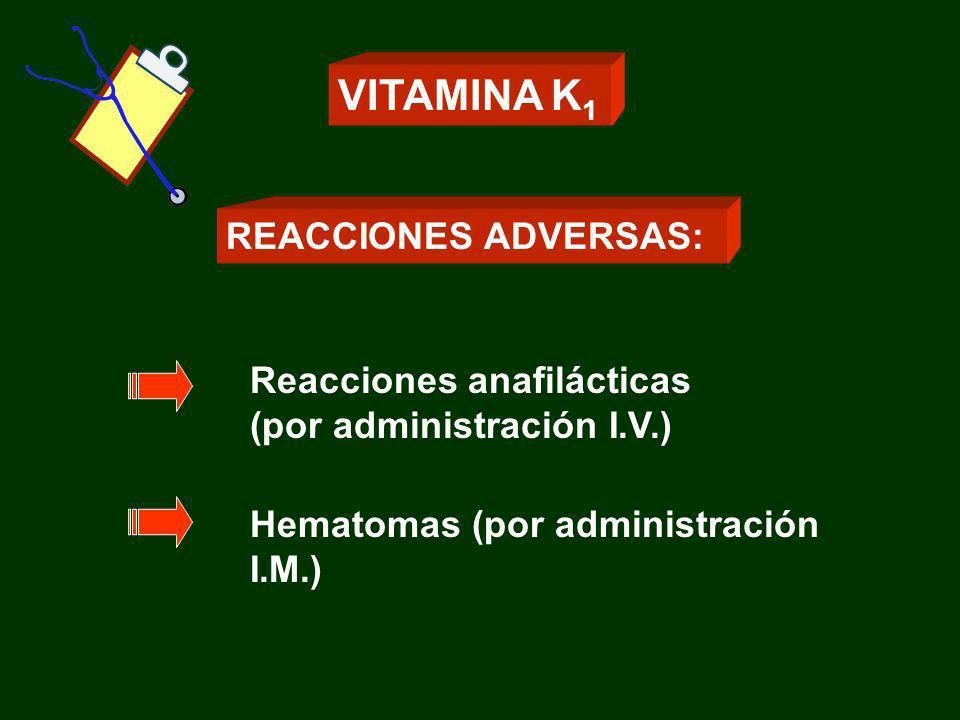 VITAMINA K1 REACCIONES ADVERSAS: Reacciones anafilácticas