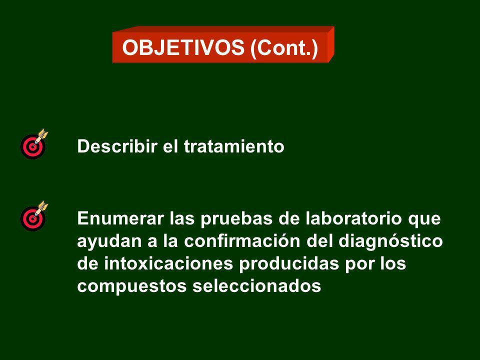 OBJETIVOS (Cont.) Describir el tratamiento