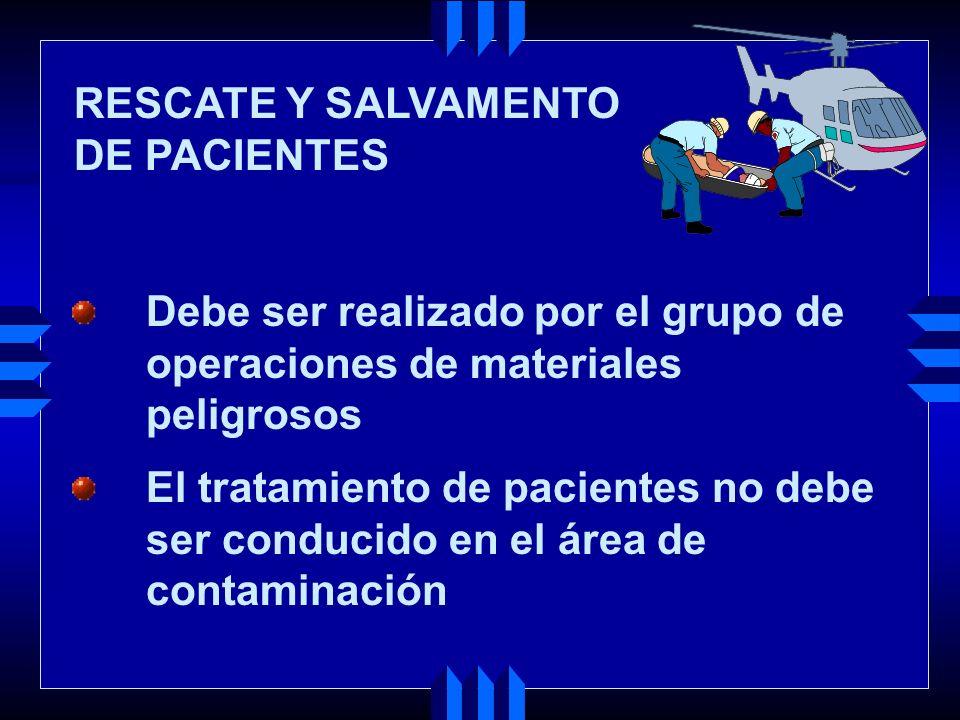 RESCATE Y SALVAMENTO DE PACIENTES. Debe ser realizado por el grupo de. operaciones de materiales.