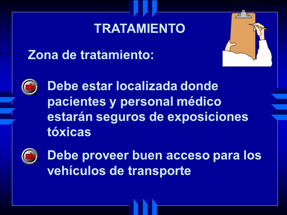 TRATAMIENTO Zona de tratamiento: Debe estar localizada donde. pacientes y personal médico. estarán seguros de exposiciones.