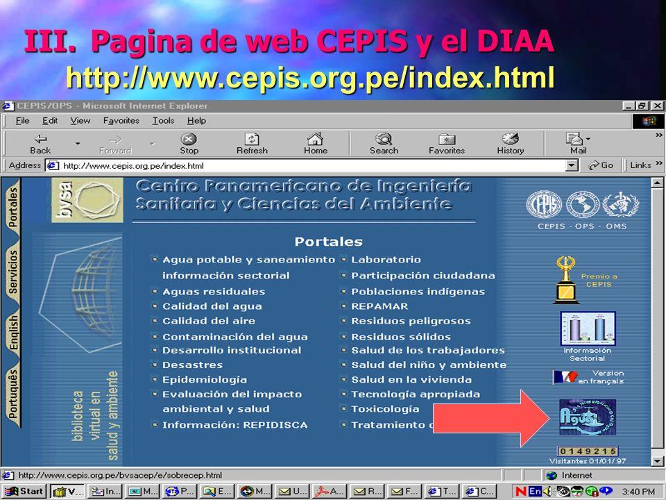 III. Pagina de web CEPIS y el DIAA