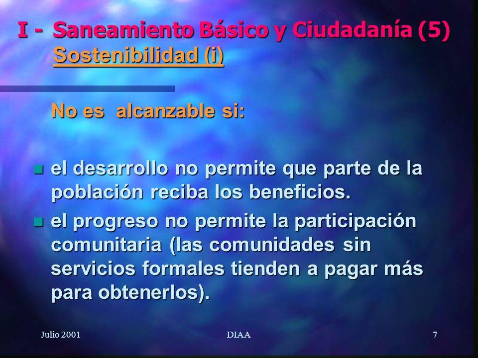 I - Saneamiento Básico y Ciudadanía (5) Sostenibilidad (i)