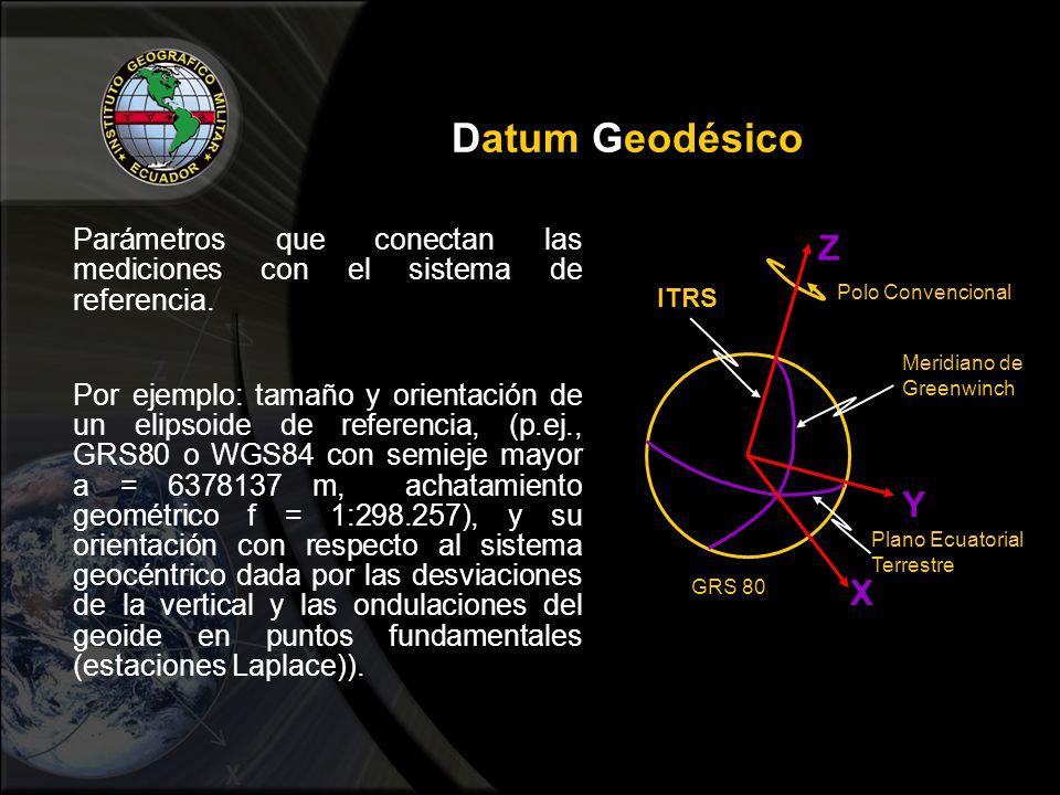 Datum Geodésico Parámetros que conectan las mediciones con el sistema de referencia.