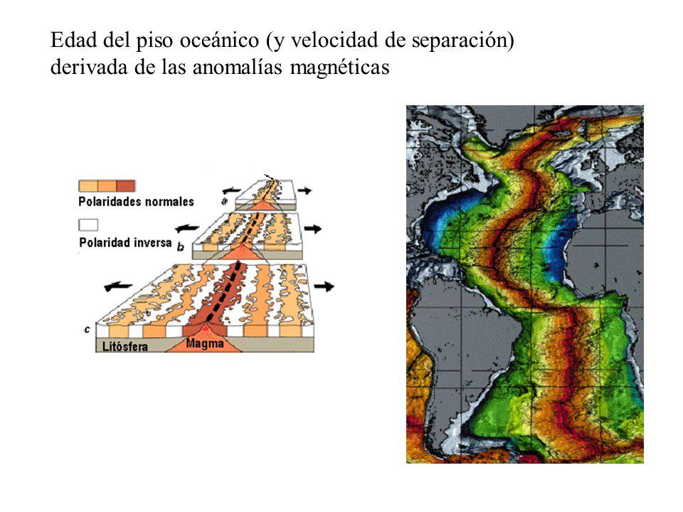 Edad del piso oceánico (y velocidad de separación)