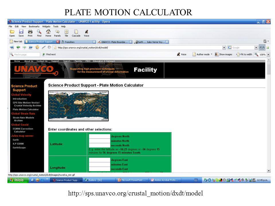 PLATE MOTION CALCULATOR