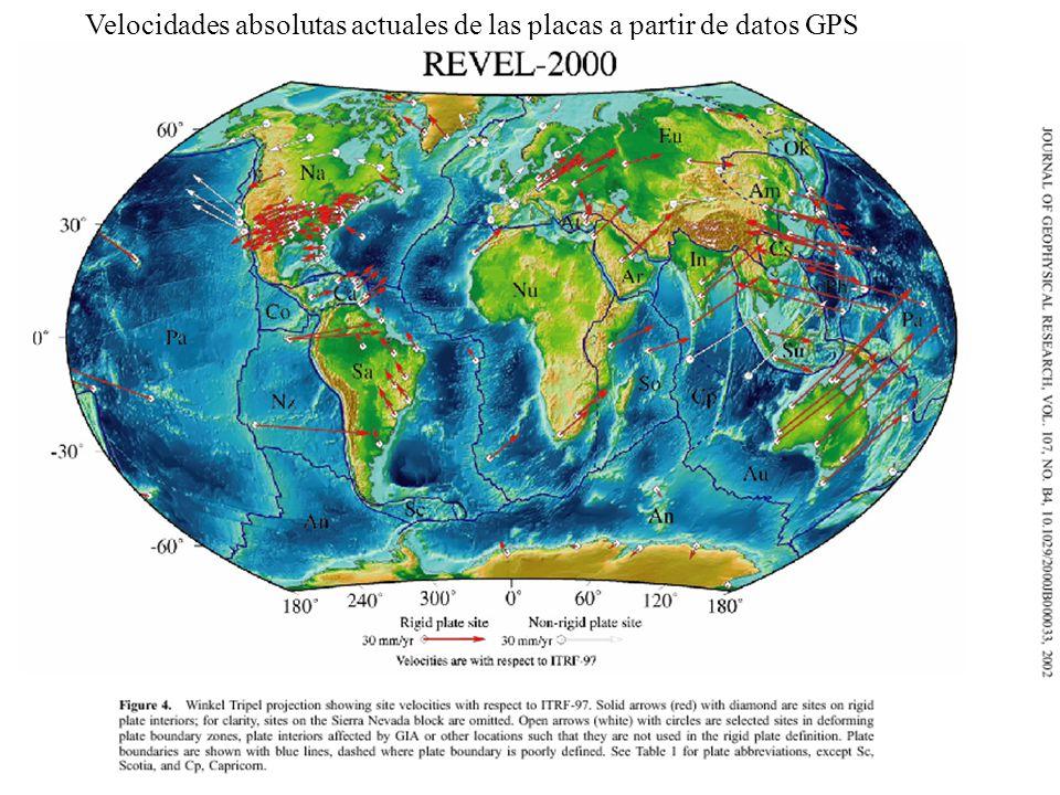 Velocidades absolutas actuales de las placas a partir de datos GPS