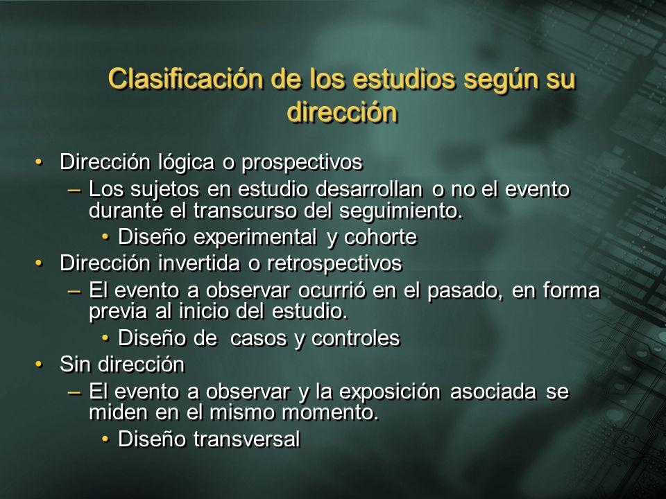 Clasificación de los estudios según su dirección