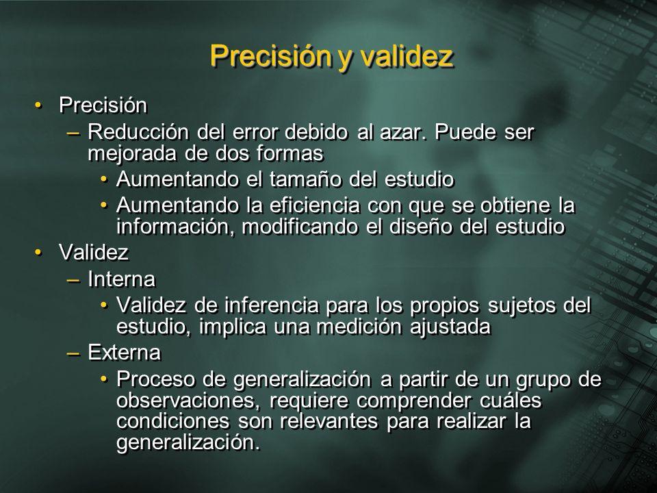 Precisión y validez Precisión