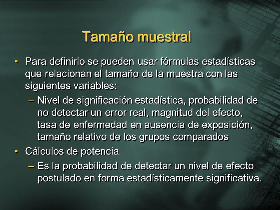 Tamaño muestralPara definirlo se pueden usar fórmulas estadísticas que relacionan el tamaño de la muestra con las siguientes variables: