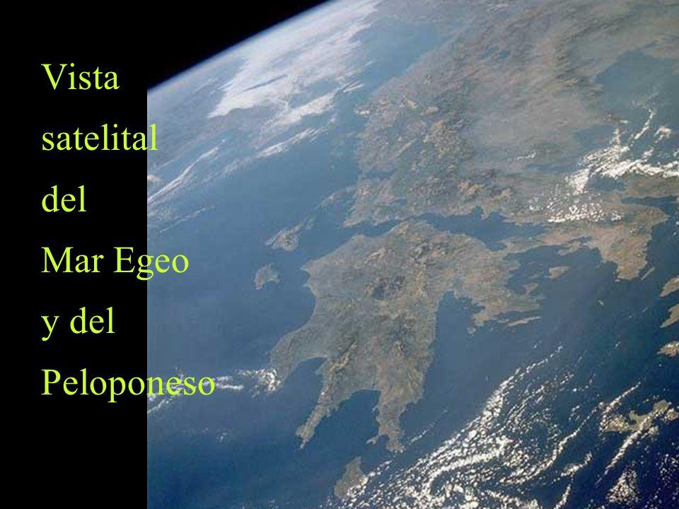 Vista satelital del Mar Egeo y del Peloponeso
