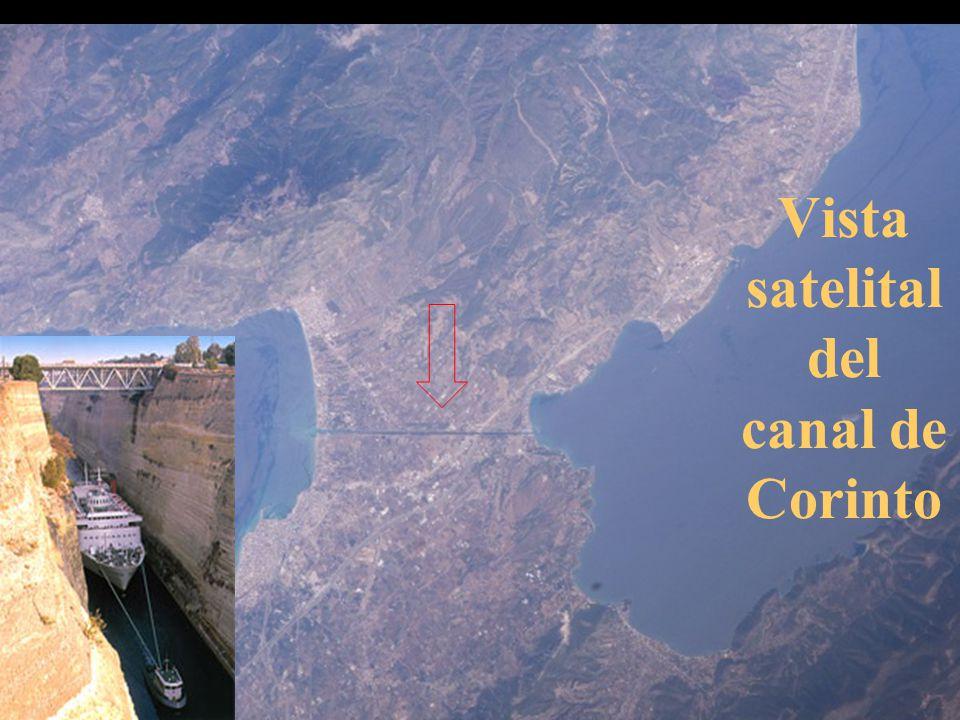 Vista satelital del canal de Corinto