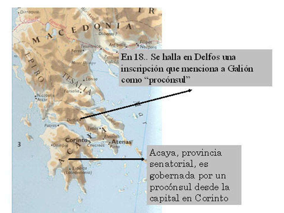 En el curso de unas excavaciones practicadas en Delfos por la Escuela Francesa de Atenas, entre los años 1892 a 1903, se descubrió un fragmento de una inscripción en la que se lee «Galión, mi amigo y procónsul de Acaya». El fragmento pertenece a una carta dirigida por el emperador Claudio a la ciudad de Delfos. Los historiadores coinciden en fechar esta carta entre las 26ª y 27ª aclamación de Claudio como emperador; lo que permite fijar el año de proconsulado de Galión en Acaya entre los años 51 a 52, o del 52 a 53. Su residencia estaba en Corinto