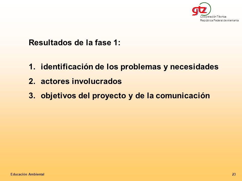 identificación de los problemas y necesidades actores involucrados