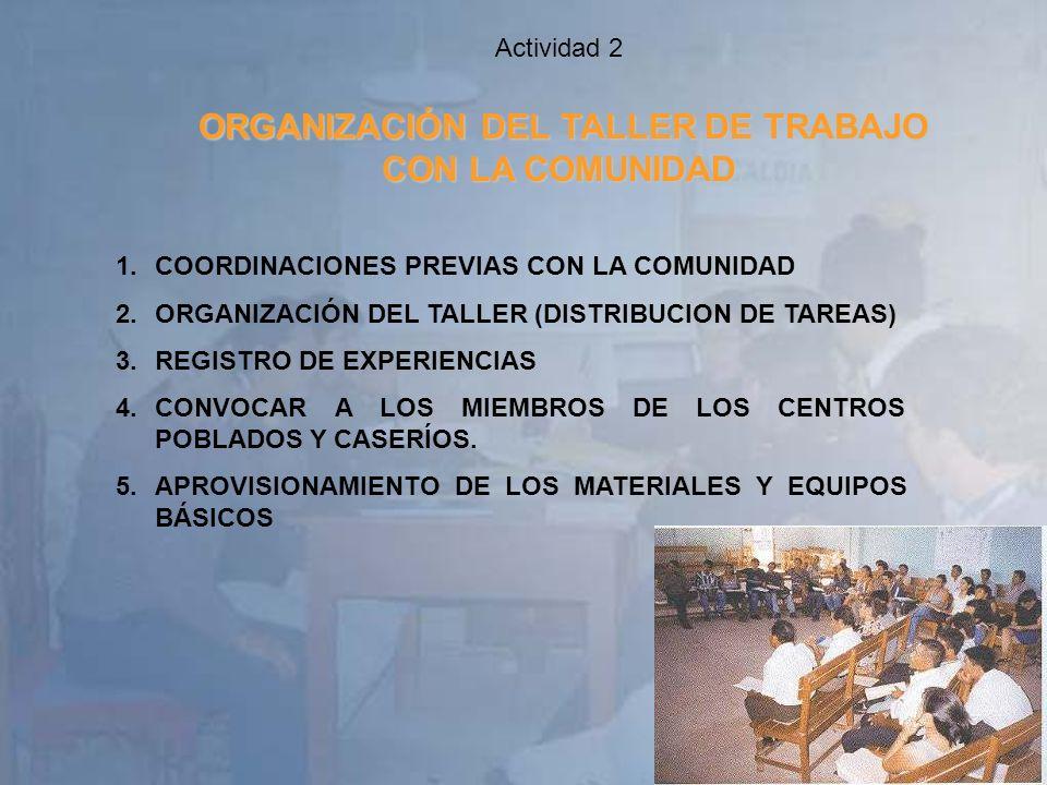 Actividad 2 ORGANIZACIÓN DEL TALLER DE TRABAJO CON LA COMUNIDAD