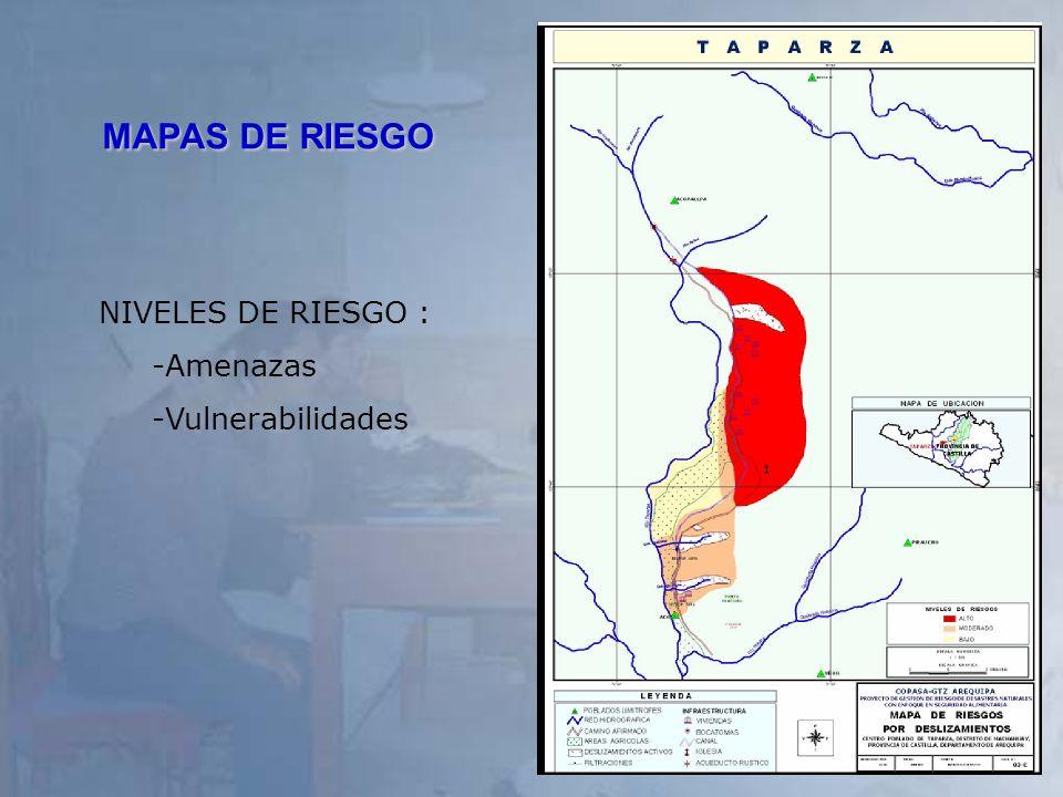 MAPAS DE RIESGO NIVELES DE RIESGO : Amenazas Vulnerabilidades