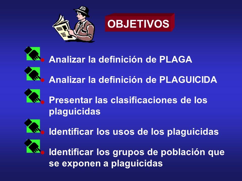 OBJETIVOS Analizar la definición de PLAGA