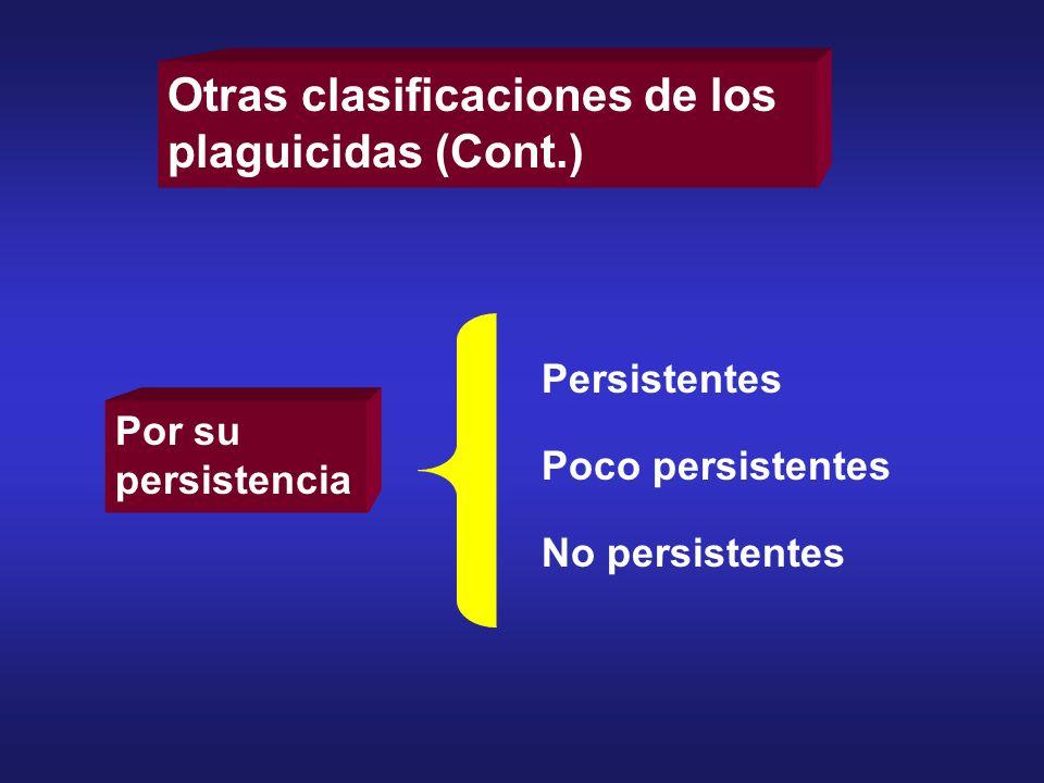 Otras clasificaciones de los plaguicidas (Cont.)