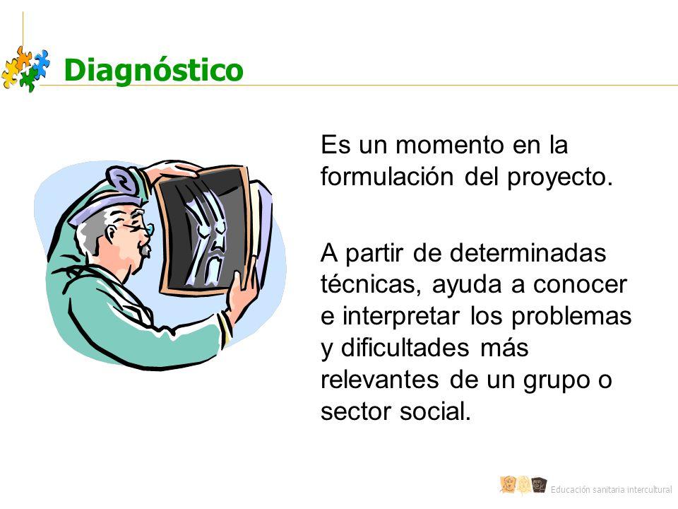 Diagnóstico Es un momento en la formulación del proyecto.