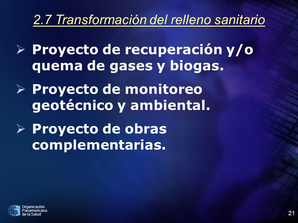 2.7 Transformación del relleno sanitario