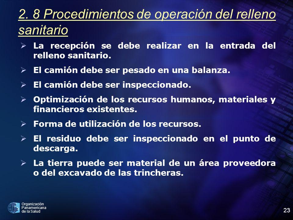 2. 8 Procedimientos de operación del relleno sanitario