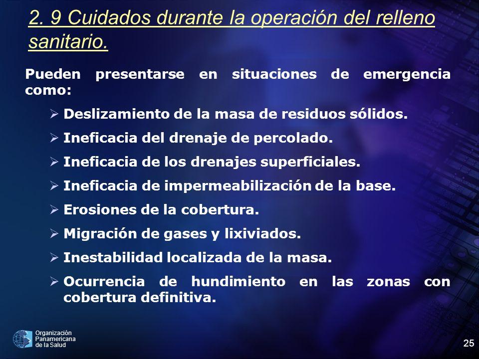 2. 9 Cuidados durante la operación del relleno sanitario.