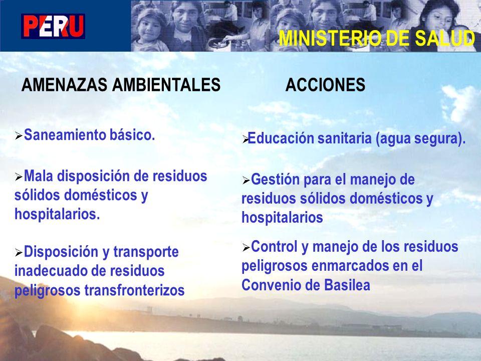 MINISTERIO DE SALUD AMENAZAS AMBIENTALES ACCIONES Saneamiento básico.