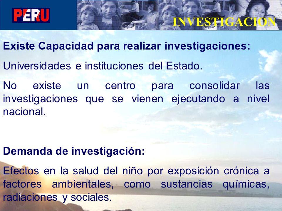 INVESTIGACION Existe Capacidad para realizar investigaciones: