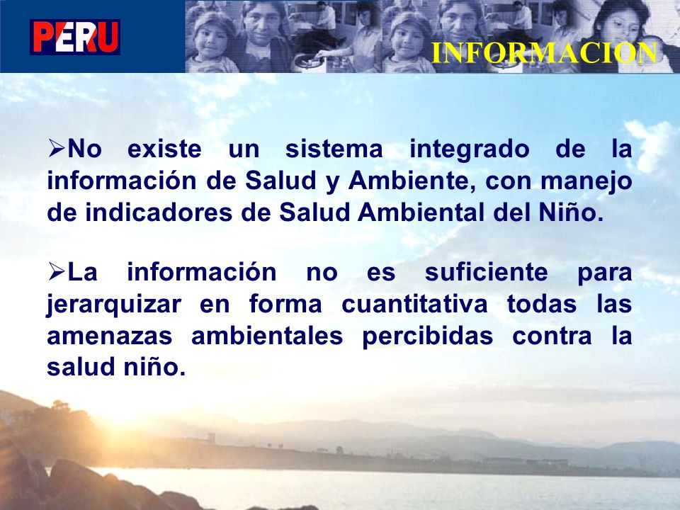 INFORMACION No existe un sistema integrado de la información de Salud y Ambiente, con manejo de indicadores de Salud Ambiental del Niño.