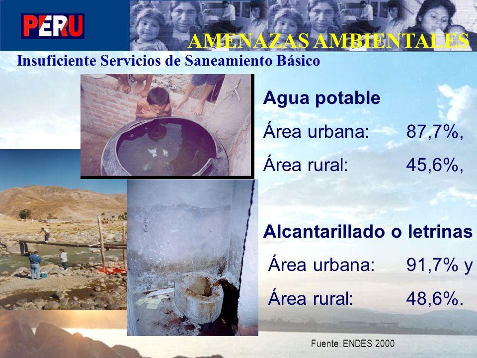 AMENAZAS AMBIENTALES Agua potable Área urbana: 87,7%,